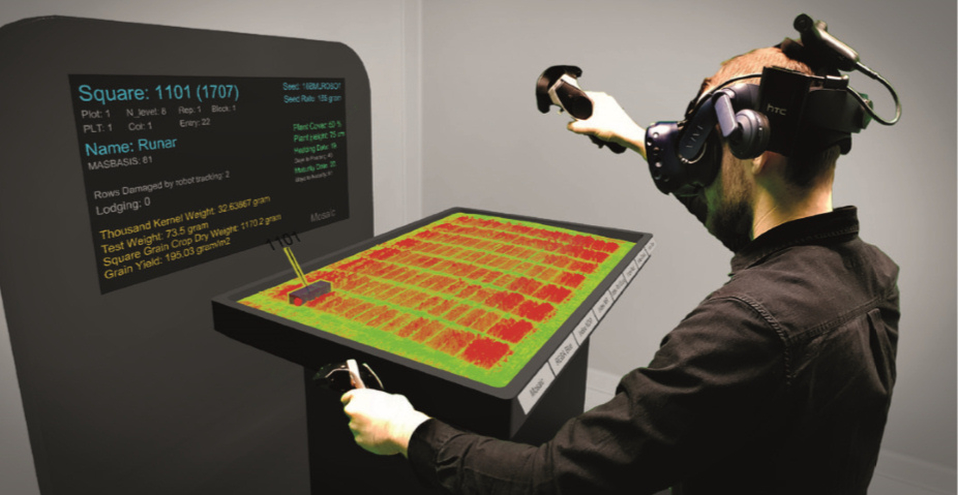 Plant phenotyping in virtual reality using the prototype developed in the vPheno project. Photo: Pål S. Vindfallet